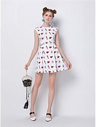 Gaine Robe Femme Sortie Mignon,Imprimé Col Arrondi Au dessus du genou Sans Manches Polyester Eté Taille Normale Micro-élastique Moyen
