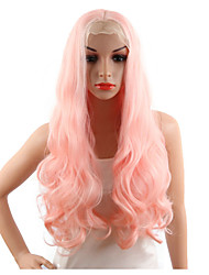 Smoke Pink Synthetic Lace Front Wigs Long Body Wave Natural Lace Hair For Women Middle Part Hairline Fully Hairstyle Wig Rose Gold New Color Wig