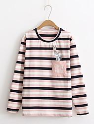 T-shirt Da donna Per uscire Casual Semplice Romantico Moda città Estate Autunno,A strisce Ricamato Rotonda Cotone Manica lungaSottile