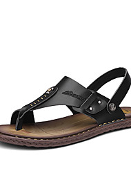 Для мужчин Сандалии Для плавания Удобная обувь Светодиодные подошвы Кожа Лето Повседневные С шипами На плоской подошве Черный Коричневый
