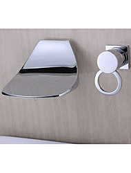Modern Style Widespread Waterfall Wall Mount with  Ceramic Valve Single Handle Two Holes for  Chrome , Bathroom Sink Faucet