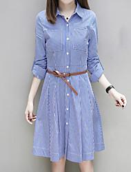 Women's Casual/Daily A Line Dress,Striped Shirt Collar Knee-length Long Sleeves Cotton Fall High Rise Micro-elastic Medium