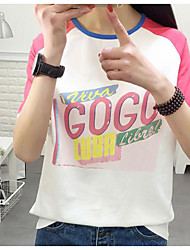 Damen Druck Einfach Lässig/Alltäglich T-shirt,Rundhalsausschnitt Sommer Kurzarm Polyester