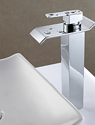 Contemporary Centerset Waterfall High Quality with  Ceramic Valve Single Handle One Hole for  Chrome  Bathroom Basin Sink Faucet