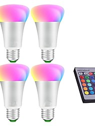 10W Ampoules LED Intelligentes A80 1 LED Intégrée 600 lm RVB RGB + Blanc Intensité Réglable Commandée à Distance Décorative V 4 pièces E27