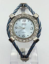 Mulheres Relógio de Moda Relógio de Pulso Chinês Quartzo Metal Banda Bracelete Casual Azul Rosa