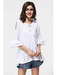 Women's Ruffle Sexy Casual Cute Plus Sizes Micro Elastic ½ Length Sleeve Regular Shirt (Cotton)
