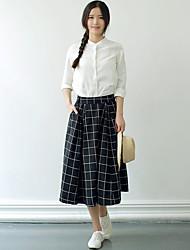 Mujer Simple Noche Casual/Diario Otoño Camisas Falda Trajes,Escote Chino Un Color Ajedrez Manga Larga