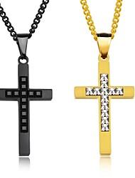 Homme Pendentif de collier Forme de Croix Acier au titane Personnalisé Hip-Hop Classique Métallique Mode Bijoux Pour Soirée Naissance