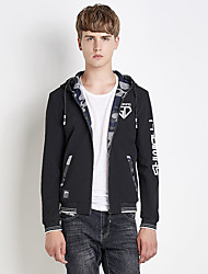 Men's Going out Casual/Daily Simple Street chic Fall Winter Jacket,Print Letter Hooded Long Sleeve Regular Nylon Spandex
