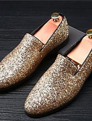 Herren Loafers & Slip-Ons Mokassin Sommer Herbst Glanz Hochzeit Normal Party & Festivität Glitter Flacher Absatz Gold Schwarz Silber Flach