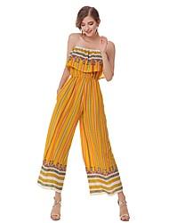 Femme Bohème Chic de Rue Taille Haute Sortie Décontracté / Quotidien Combinaison-pantalon,Ample Imprimé Eté Automne