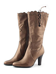 Women's Boots Comfort Cowhide Fall Winter Casual Camel 2in-2 3/4in