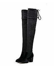 Mujer Tacones Confort Innovador Botas de Moda Otoño Invierno Cuero Nobuck Boda Vestido Fiesta y Noche Tacón Robusto Negro Azul 5 - 7 cms