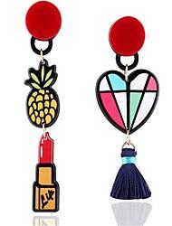 Women's Stud Earrings Tassels Cute Style Oversized Mismatch Alloy Heart Fruit Jewelry For Gift Beach Holiday