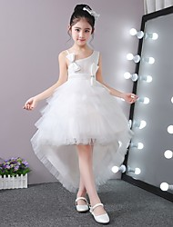 Ball Gown Asymmetrical Flower Girl Dress - Stick-Satin Tulle Sleeveless One Shoulder with Beading