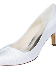 Mujer Zapatos de boda Pump Básico Satén Elástico Primavera Otoño Boda Fiesta y Noche Pajarita Tacón StilettoAzul Rosa Morado Champaña