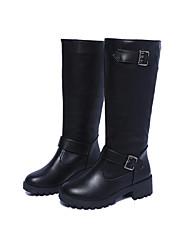 Для женщин Ботинки Удобная обувь Зима Полиуретан Повседневные Пряжки На низком каблуке Черный Коричневый Менее 2,5 см