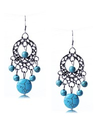 Women's Drop Earrings Turquoise Basic Circular Dangling Style Pendant Fashion Classic Sterling Silver Turquoise Alloy Circle Round Ball