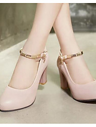 Damen Schuhe PU Frühling Sommer Komfort High Heels Mit Für Normal Weiß Schwarz Beige Rosa