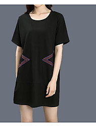 Fodero Vestito Da donna-Casual Con stampe Rotonda Sopra il ginocchio Mezza manica Cotone Primavera A vita medio-alta Media elasticità