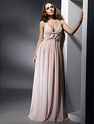 Sheath / Column V-neck Straps Floor Length Chiffon Formal Evening Military Ball Dress with Draping Pleats by TS Couture®