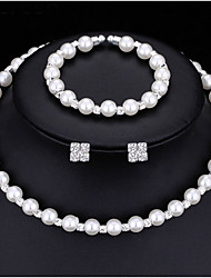 Simulated Pearl Bridal Jewelry Sets Crystal Choker Necklace Earrings Bracelet Wedding Jewelry sets for women New