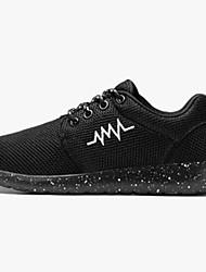 Femme Chaussures d'Athlétisme Confort Tulle Eté Décontracté Marche Lacet Talon Plat Blanc Noir Fuchsia Noir/blanc 5 à 7 cm