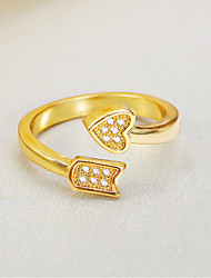 Women's 24K Gold Plated Cuff Adjustable Cupid Love and Arrow Ring Imitation Diamond Love Fashion Accessories Jewelry For Wedding Party