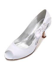 Women's Wedding Shoes Comfort Basic Pump Spring Summer Satin Wedding Dress Party & Evening Bowknot Satin Flower Flower Low Heel Kitten