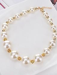 Women's Choker Necklaces Pendant Necklaces Chain Necklaces Imitation Pearl Rhinestone Circle Round Imitation Pearl RhinestonesCircular