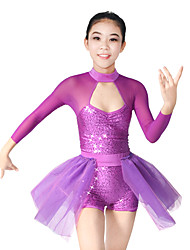 MiDee Jazz Leotards Women's / Children's Performance Spandex / Polyester / Organza / Sequined Paillettes / Sequins / Side-Draped / Splicing2