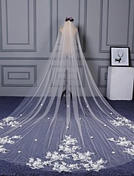 Wedding Veil One-tier Cathedral Veils Cut Edge Lace Applique Edge Lace Tulle