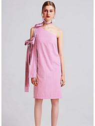 Gaine Robe Femme Décontracté / Quotidien Rayé Une Epaule Mi-long Manches Longues Coton Printemps Taille Haute Micro-élastique Moyen