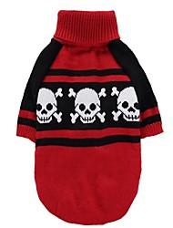Gato Perro Abrigos Suéteres Ropa para Perro Fiesta Cosplay Casual/Diario Mantiene abrigado Boda Halloween Navidad Año Nuevo Cráneos Rojo