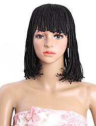 Pelucas sintéticas Sin Tapa Castaño Medio Negro 100% kanekalon pelo Peluca natural Las pelucas del traje