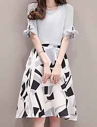 Women's Casual/Daily Work Simple Summer Blouse Skirt Suits,Solid Geometric Pattern Round Neck Short Sleeve Inelastic