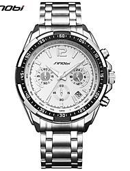 SINOBI Homens Relógio Esportivo Relógio de Pulso Chinês Quartzo Calendário Cronógrafo Resistente ao Choque Mostrador Grande Metal Banda