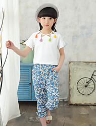 Girls' Print Cartoon Sets,Cotton Linen Summer Fall Short Sleeve Clothing Set