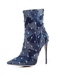 Damen Stiefel Cowboystiefel / Westernstiefel Modische Stiefel Denim Jeans Herbst Winter Party & Festivität StöckelabsatzMarinenblau