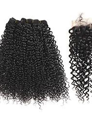 Tissages de cheveux humains Cheveux Brésiliens Très Frisé 1 An 4 Pièces tissages de cheveux kg Mèches Rapides