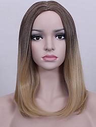 pelucas sintéticas europeas del pelo recto largo del middel del brunie del ombre del ombre popular para la peluca de las mujeres