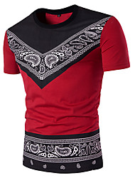 Men's Casual/Daily Simple Summer T-shirt,Print Round Neck Short Sleeves Cotton Medium