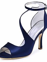 Mujer Zapatos de boda Pump Básico Satén Elástico Verano Boda Fiesta y Noche Hebilla Tacón Stiletto Negro Azul Oscuro Azul Morado7'5 - 9'5