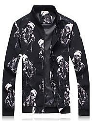 Для мужчин Спорт На выход Большие размеры Весна Осень Куртка Воротник-стойка,Простой Уличный стиль С принтом Обычная Длинный рукав,