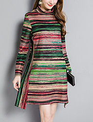 Women's Plus Size Going out Simple Street chic A Line Dress,Striped Color Block Turtleneck Asymmetrical Long Sleeves Cotton Polyester Fall