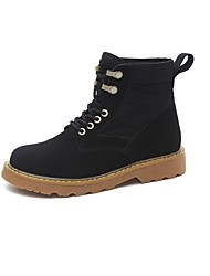 Women's Shoes PU Fall Winter Combat Boots Boots Flat Heel Round Toe Mid-Calf Boots Lace-up For Outdoor Khaki Black