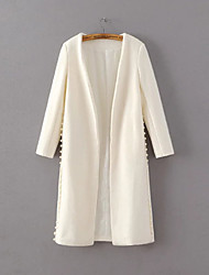 Women's Going out / Casual/Daily Simple / Chinoiserie Coat,Embroidered Shirt Collar Long Sleeve Fall / Winter RedRayon / Polyester /