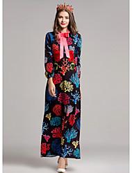 Dámské Jdeme ven Pouzdro Šaty Tisk,Dlouhý rukáv Kulatý Maxi Polyester Podzim Mid Rise Lehce elastické Střední