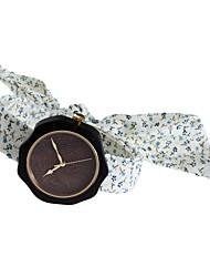 Mujer Reloj de Moda Reloj Madera Japonés Cuarzo de madera Tejido Banda Encanto Elegantes Creativo Blanco
